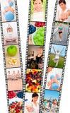 Ejercicio de la dieta sana de los hombres y de las mujeres del montaje de la tira de la película Imágenes de archivo libres de regalías