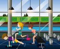 Ejercicio de la gente en el gimnasio ilustración del vector