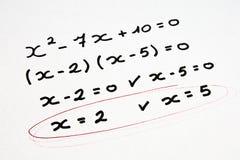 Ejercicio de la matemáticas Imagen de archivo