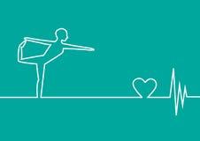 Ejercicio de la yoga con el corazón del ECG en el fondo verde, diseño Fotografía de archivo libre de regalías