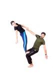 Ejercicio de la yoga de Acro Imagen de archivo libre de regalías