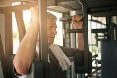 Ejercicio de trabajo del hombre mayor en el gimnasio Entrenamiento del hombre en la GY Fotografía de archivo