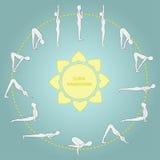 Ejercicio del ciclo en el saludo del sol de la yoga Asanas € Imagen de archivo