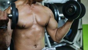 Ejercicio del hombre con pesas de gimnasia en gimnasio almacen de metraje de vídeo