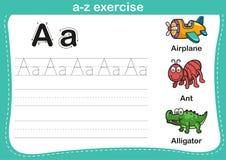 Ejercicio del a-z del alfabeto con el ejemplo del vocabulario de la historieta Fotos de archivo