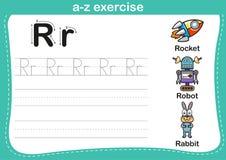 Ejercicio del a-z del alfabeto con el ejemplo del vocabulario de la historieta stock de ilustración