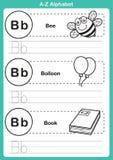 Ejercicio del a-z del alfabeto con el vocabulario de la historieta para el libro de colorear Fotos de archivo libres de regalías