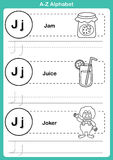 Ejercicio del a-z del alfabeto con el vocabulario de la historieta para el libro de colorear Fotografía de archivo libre de regalías