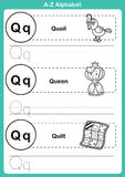 Ejercicio del a-z del alfabeto con el vocabulario de la historieta para el libro de colorear Imagen de archivo