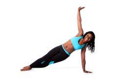 Ejercicio feliz de la yoga de los pilates Foto de archivo libre de regalías