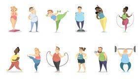 Ejercicio gordo de la gente libre illustration