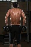 Ejercicio masculino de Doing Heavy Weight del atleta para el trapecio Imágenes de archivo libres de regalías