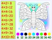 Ejercicio para los niños con la multiplicación por cuatro Necesidad de pintar la mariposa en color relevante Fotos de archivo