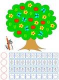 Ejercicio para los niños Cuente de objetos en el árbol, pinte el número de correspondencia de ellos y escriba la cantidad Fotografía de archivo