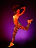 Ejercicios de la aptitud del baile del bailarín de la mujer aislados Fotografía de archivo libre de regalías