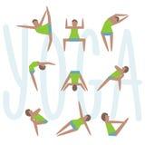Ejercicios de la yoga Buenos determinados del icono de la yoga de la historieta para la clase, el centro, el estudio, el cartel y libre illustration