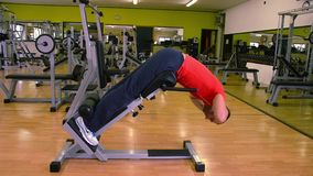 Ejercicios para los músculos traseros Hombre en la gimnasia almacen de metraje de vídeo
