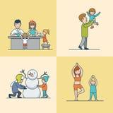 Ejercicios planos lineares del gimnasio del muñeco de nieve del cocinero de la familia libre illustration