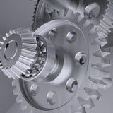 Ejes, engranajes y transportes del metal ilustración del vector