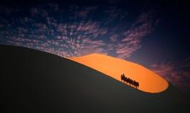 Ejina-Wüsten-Kamelteam Lizenzfreie Stockfotografie