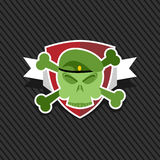 Ejército del emblema Cráneo en el escudo Fotos de archivo