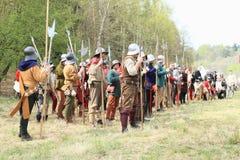 Ejército medieval suizo Foto de archivo libre de regalías