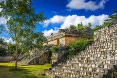 Ek Balam玛雅考古学站点 古老玛雅人金字塔和芮 免版税库存图片
