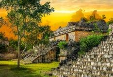 Ek Balam玛雅考古学站点 古老玛雅人金字塔,寺庙 库存照片