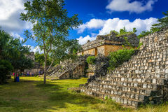 EK BALAM, МЕКСИКА - ЯНВАРЬ 2016 Старые майяские археологические сидят Стоковые Фото
