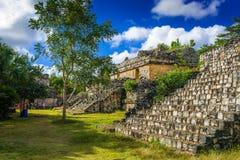 EK BALAM, MEXICO - JANUARI 2016 Oude Mayan Archeologisch zit Stock Foto's