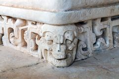 Sculpture Details at the Ruins of Ek Balam near Valladolid, Mexico royalty free stock photo