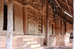 Ek`Balam ,The tomb of Ukit Kan Lek Tok. Ek`Balam ,plaster on the tomb of Ukit Kan Lek Tok, a king buried in the side pyramid.Middle Preclassic through the Post Stock Photography