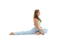 Eka pada rajakapotasana one-legged king pigeon Stock Photos