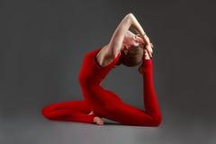 Ekapadaradzhakapotasana yoga Royalty Free Stock Photo
