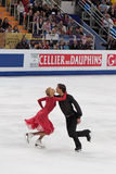 Ekaterina Bobrova and Dmitri Soloviev. MOSCOW, RUSSIA - APR 30: World championship on figure skating 2011. Ekaterina Bobrova and Dmitri Soloviev in pair ice Royalty Free Stock Photos
