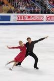 Ekaterina Bobrova and Dmitri Soloviev. MOSCOW, RUSSIA - APR 30: World championship on figure skating 2011. Ekaterina Bobrova and Dmitri Soloviev in pair ice Royalty Free Stock Photo