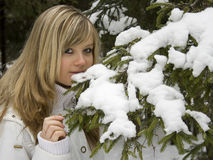 Ekaterina at a branch. Day shoot, winter, in wood distriction Stock Photography
