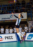 Ekaterina Gamova (11) pitch. MOSCOW - DECEMBER 2: E. Gamova (11) pitch on a game Dynamo MSK vs Dynamo KZN on Russian National wemen Volleyball tournament on Stock Photos