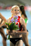 Ekaterina Gorbunova of Russia. Watch to the scoreboard after of 1500m Event of Barcelona Athletics meeting at the Olympic Stadium on July 22, 2011 in Barcelona Stock Photography