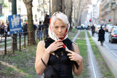 Ekaterina kolenbet milano,milan fashion week streetstyle autumn winter 2015 2016 Royalty Free Stock Image