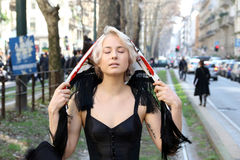 Ekaterina kolenbet Milano,milan fashion week streetstyle  autumn winter 2015 2016 Royalty Free Stock Images