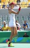 Ekaterina Makarova de Rusia en la acción durante el final de los dobles de las mujeres de la Río 2016 Foto de archivo