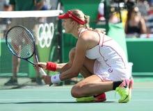 Ekaterina Makarova de Rusia en la acción durante el final de los dobles de las mujeres de la Río 2016 Fotografía de archivo