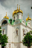 Ekaterina`s cathedral with Golden domes. Pushkin. Russia Stock Images