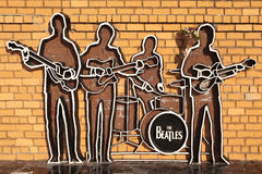 EKATERINBURG,俄罗斯- 2015年10月21日:纪念碑照片对Beatles的 免版税库存照片