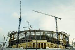 Ekaterinburg 一个新的体育场的建筑2018年世界杯橄榄球的 库存图片