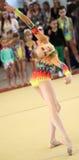 EKATERINBURG - 13 AVRIL : Leçon de démonstration à la concurrence de gymnastique rythmique de la jeunesse Photos libres de droits