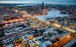Ekaterinburg from height of bird`s flight. Autumn, evening, lights and the light from the headlights of cars Royalty Free Stock Photo