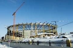 Ekaterinburg La construcción de un nuevo estadio para el fútbol de 2018 mundiales fotografía de archivo
