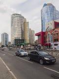 Ekaterinburg-Neubauten Stadtzentrum Radishchev-Straße russ stockfotografie